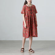 Floral Retro Summer Short Sleeve Pockets Red Dress
