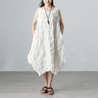 Plaid Casual Pockets Summer Sleeveless White Dress