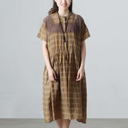 Plaid Casual Pleated Summer Short Sleeve Pockets Applique Dress