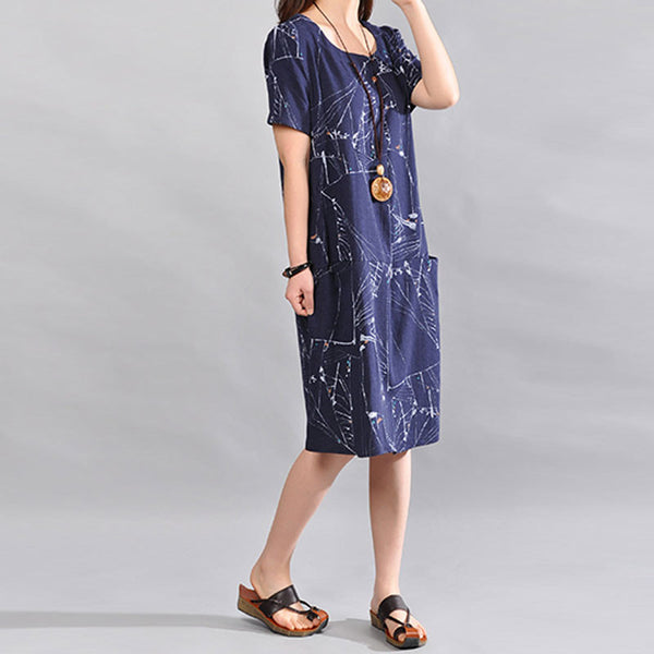 Summer Women Linen Loose Short Sleeves Navy Blue Dress