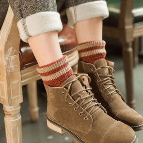 Women Autumn Winter Cotton Casual Thick Warm Knitted Socks - Buykud