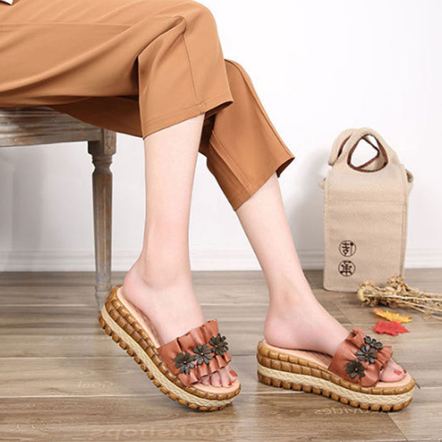 Slope Heel Thick Bottom Brown Slippers Women Beach Shoes