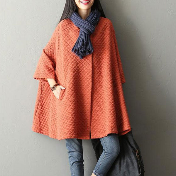 Cotton Bat Sleeve Cardigan Orange Jacket