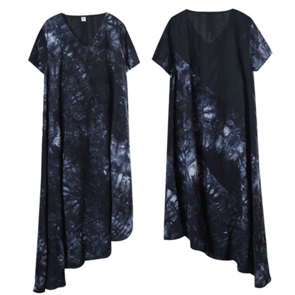 Retro Printing Loose Women Cotton Irregular Splicing Black Dress - Buykud
