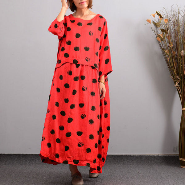 Women's Autumn Red Casual Embroidered Linen Dress - Buykud