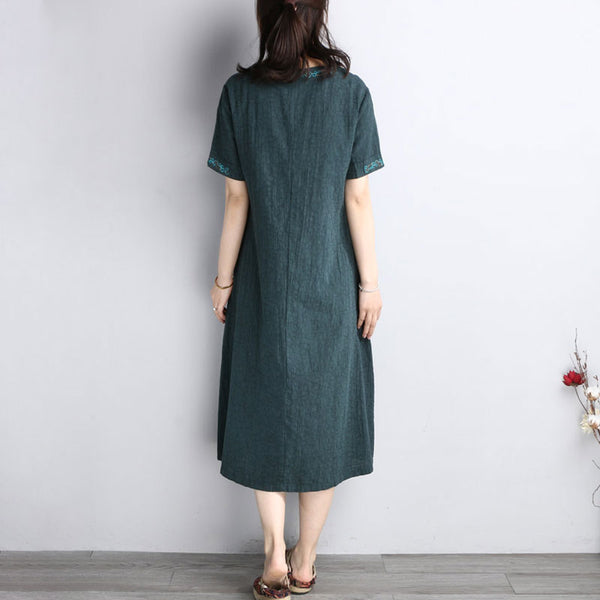 Summer Ethnic Embroidery Short Sleeve Loose Green Dress - Buykud