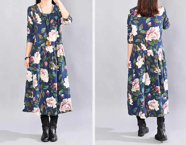 Autumn Fashion Casual Loose Floral Cotton Long Sleeves Navy Blue Dress - Buykud