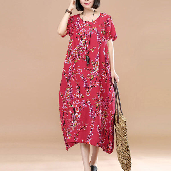 Literature Plum Blossom Printing Short Sleeves Loose Women Red Dress - Buykud