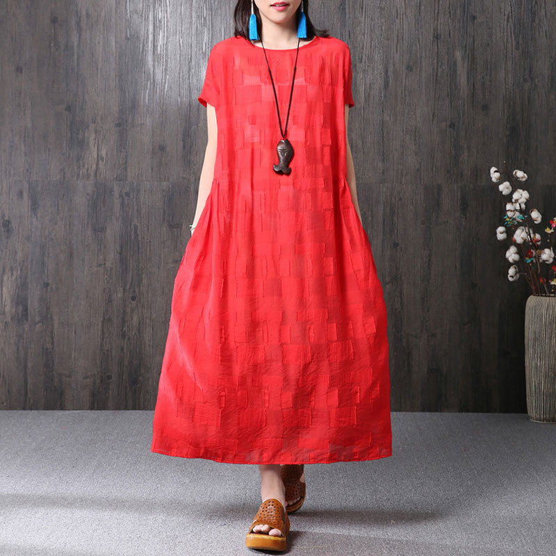 Splicing Summer Loose Women Casual Cotton Red Dress - Buykud