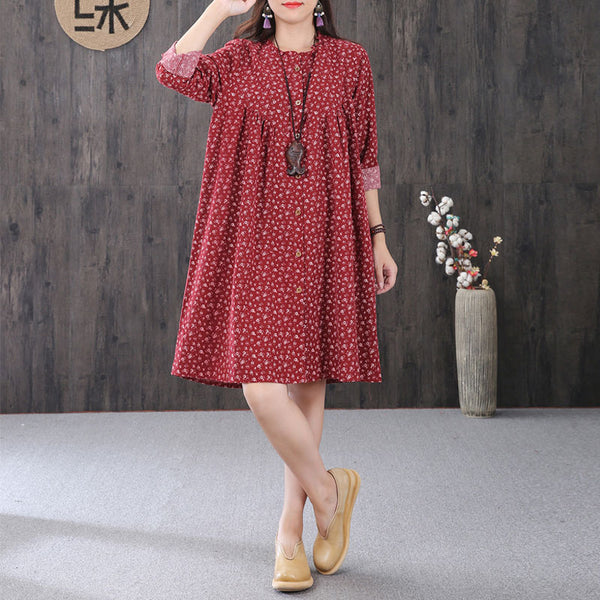 Graceful Women Printing Cape Collar Pleated Long Sleeves Red A-line Dress - Buykud