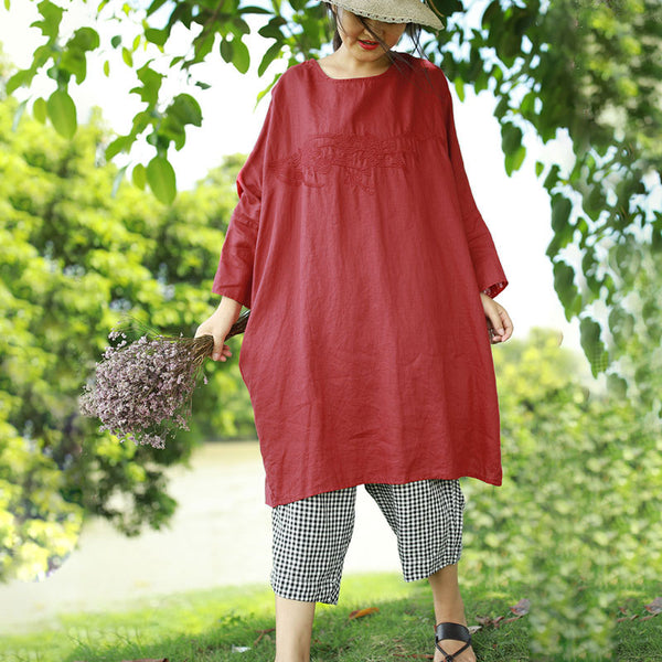 Women's Round Neck Three Quarter Sleeve Embroidery Linen Dress