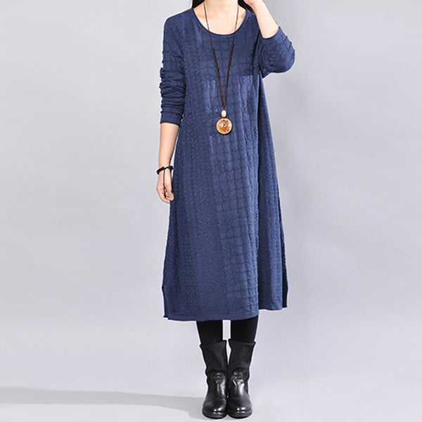 Round Neck Winter Jacquard Long Sleeves Women Blue Dress