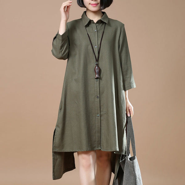Cotton Linen Irregular Women Casual Loose Army Green Shirt Dress - Buykud