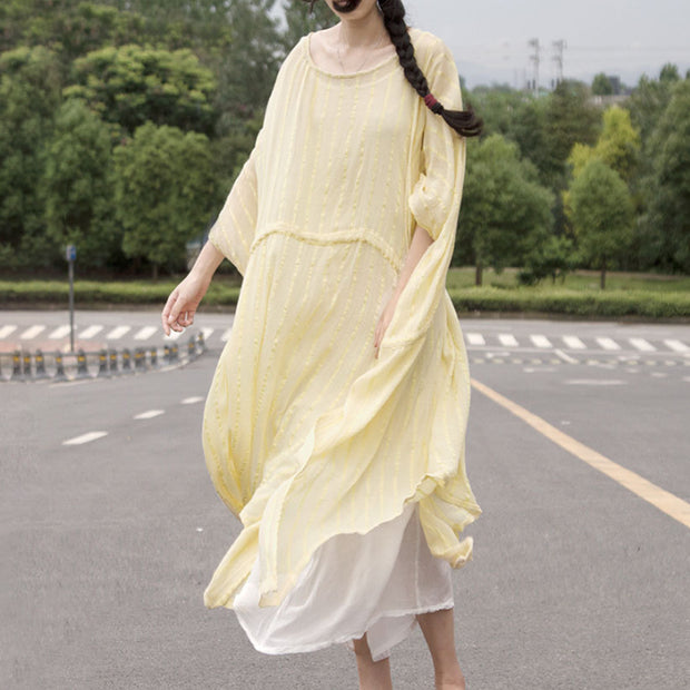 Short Sleeve Slit Leisure Cotton Dress