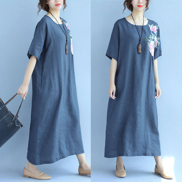Women Embroidered Casual Loose Short Sleeve Blue Dress - Buykud