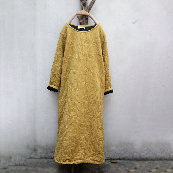 Chinese Style Women Jacquard Vintage Winter Dress