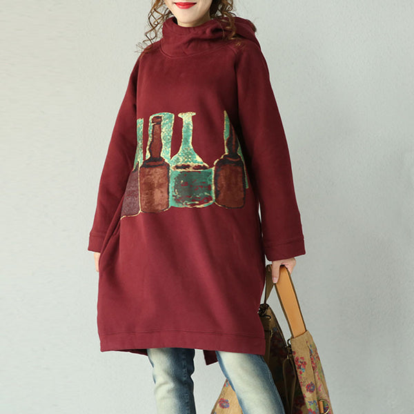 Wine Red Hooded Cotton Jacket