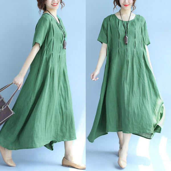 Women Solid Chic Casual Loose Short Sleeve Green Dress