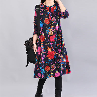 Ethnic Stylish Vintage Floral Casual Cotton Navy Blue Dress - Buykud