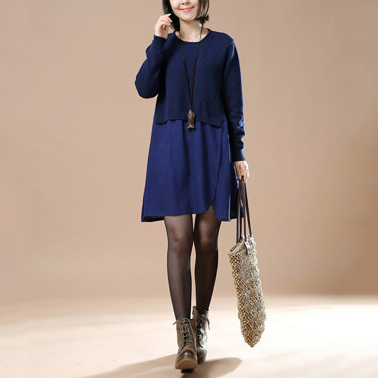 Navy Blue Autumn Long Sleeve Round Neck Loose Sweater