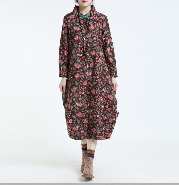 Women Print Cotton Linen Loose Long Sleeve Dress