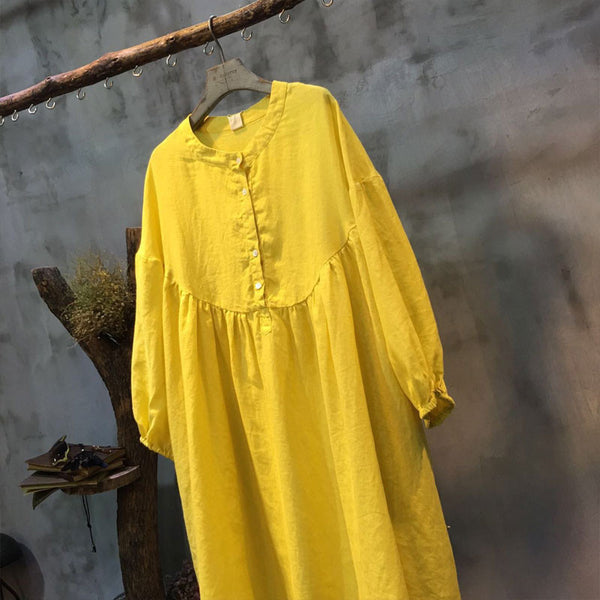 Spring Linen Round Neck Loose Yellow Dress - Buykud