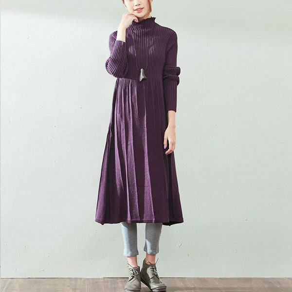 Purple Cotton Knit Dress