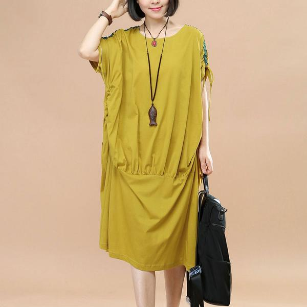 Women Loose Casual Summer Cotton Green Dress