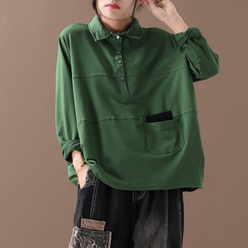 Buykud Casual Literary Solid Color Long Sleeve Shirt