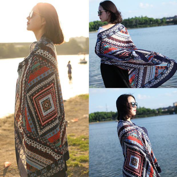 Buykud Beautiful Soft And Comfortable Printed Sunscreen Scarf