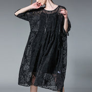 Summer Loose Women Embroidery Black Dress Two Piece - Buykud