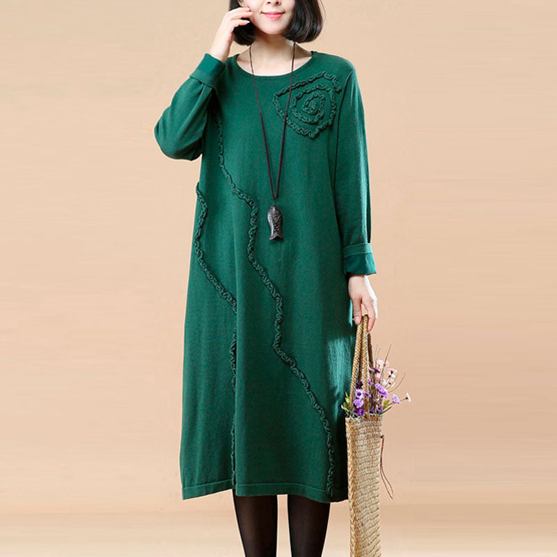 Autumn Round Neck Loose Green Knitted Dress For Women - Buykud