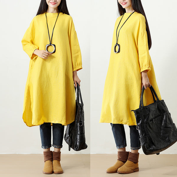 Women Yellow Three Quarter Sleeve Buttons Pockets Side Slit Dress - Buykud