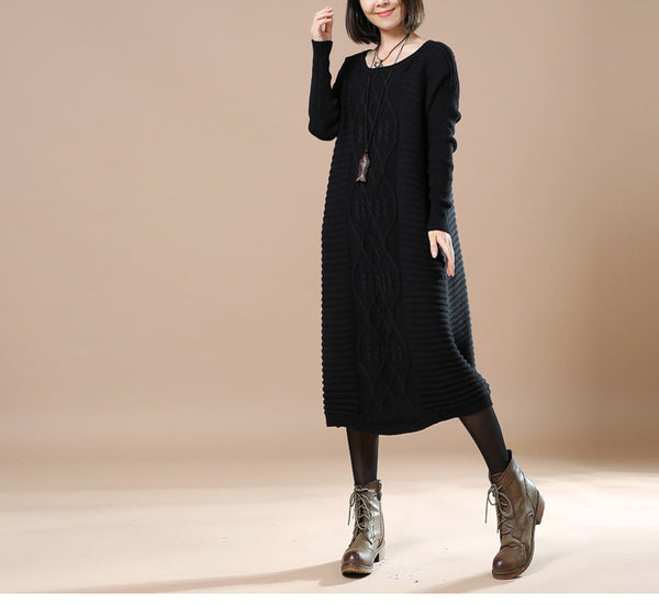 Casual Loose Knitted Sweater Black
