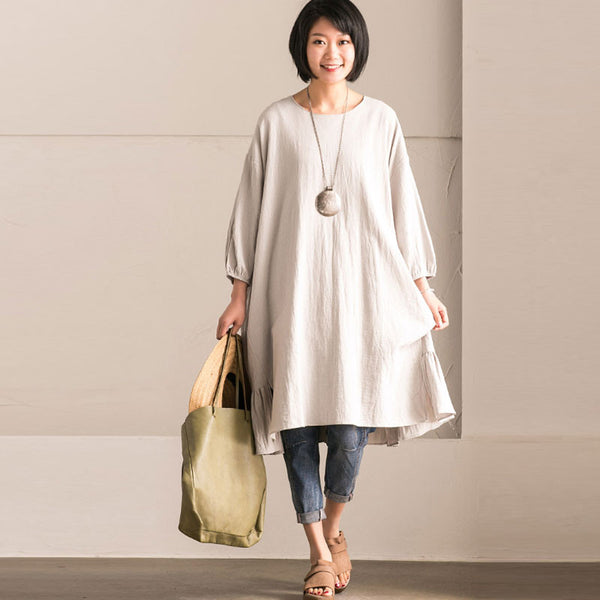 Linen Round Neck Fold Bat Sleeves Gray Dress