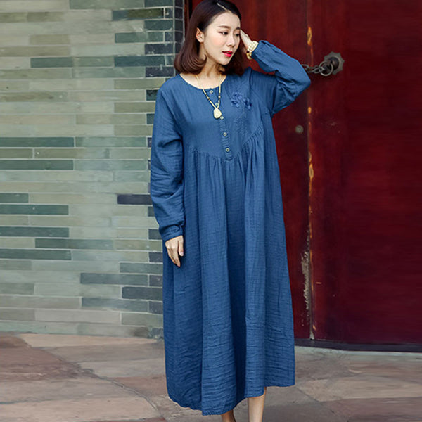 Spring Linen Embroidered Loose Blue Dress