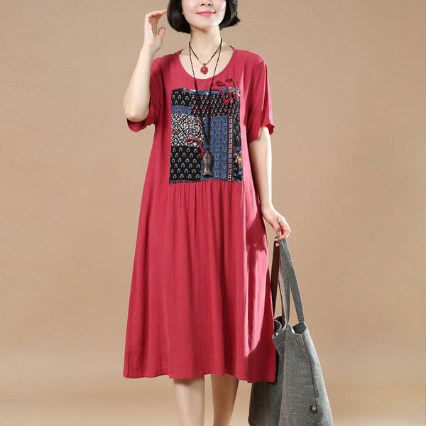 Red Women Loose Summer Linen Cotton Ethnic Casual Dress - Buykud
