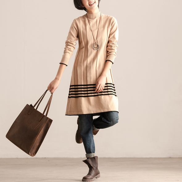 Casual Women Mock Turtle Neck Long Sleeve Dress - Buykud