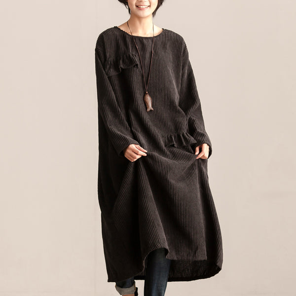 Women Round Neck Long Sleeve Black Cotton Patchwork Dress - Buykud