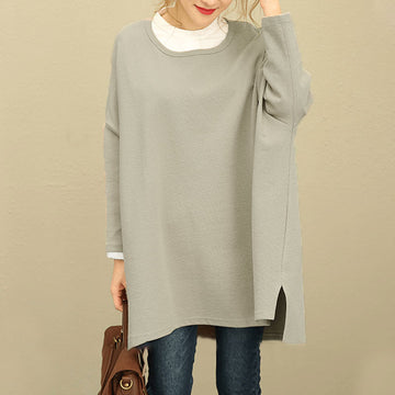 Fall Winter Retro Women Hedging Loose Long Sleeve Shirt - Buykud