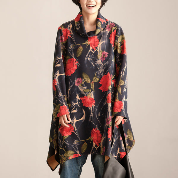 Women Spring Autumn Turtle Neck Long Sleeve Printing Dress