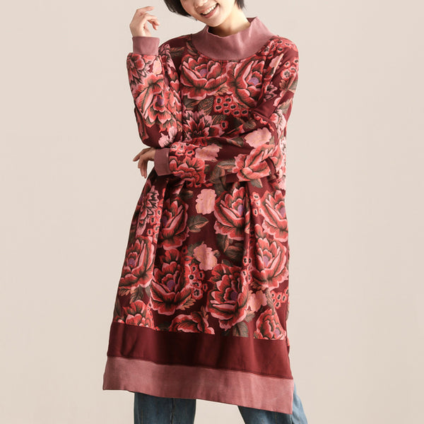 Turtle Neck Long Sleeve Floral Printing Women Dark Red Dress - Buykud