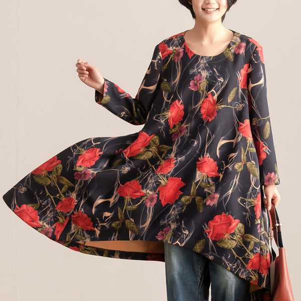 Loose Women Autumn Round Neck Long Sleeve Printing Dress