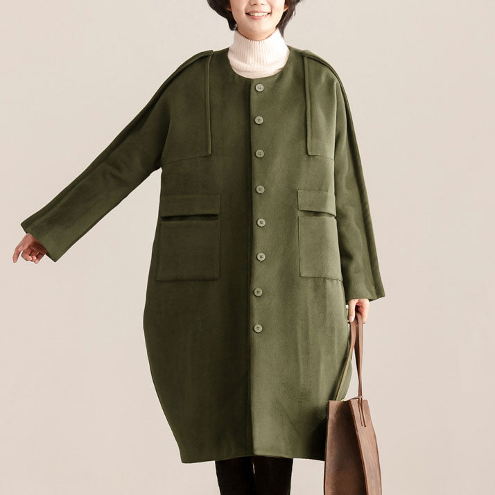 Women Loose Casual Round Neck Long Sleeve Single Breasted Coat - Buykud