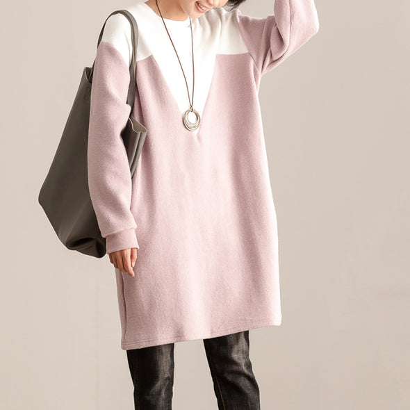 Round Neck Long Sleeve Pink And White Cotton Women Dress - Buykud