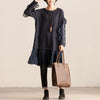 Lace Splicing Round Neck Long Sleeve Women Blue Dress - Buykud