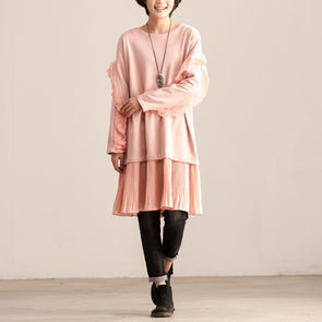 Lace Splicing Round Neck Long Sleeve Women Pink Dress - Buykud