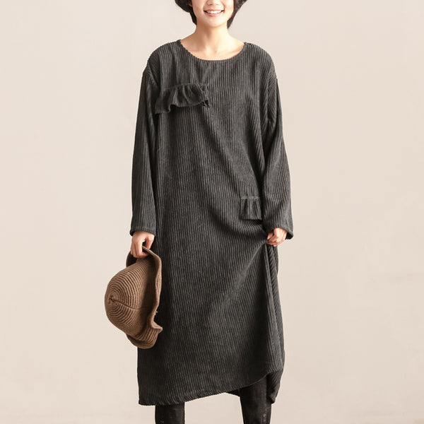 Women Round Neck Long Sleeve Loose Gray Cotton Dress - Buykud