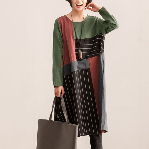 Loose Women Round Neck Long Sleeve Stripes Splicing Dress - Buykud