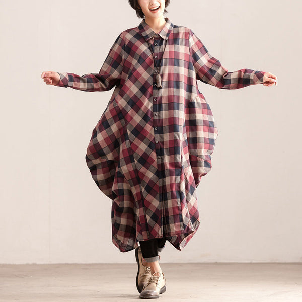 Polo Collar Single Breasted Loose Women Plaid Dress - Buykud